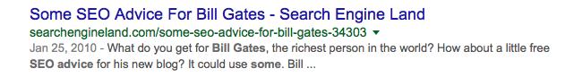 SEO Advice from Bill Gates