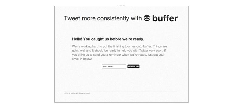 buffer landing page