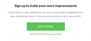 Quicksprout sign up CTA