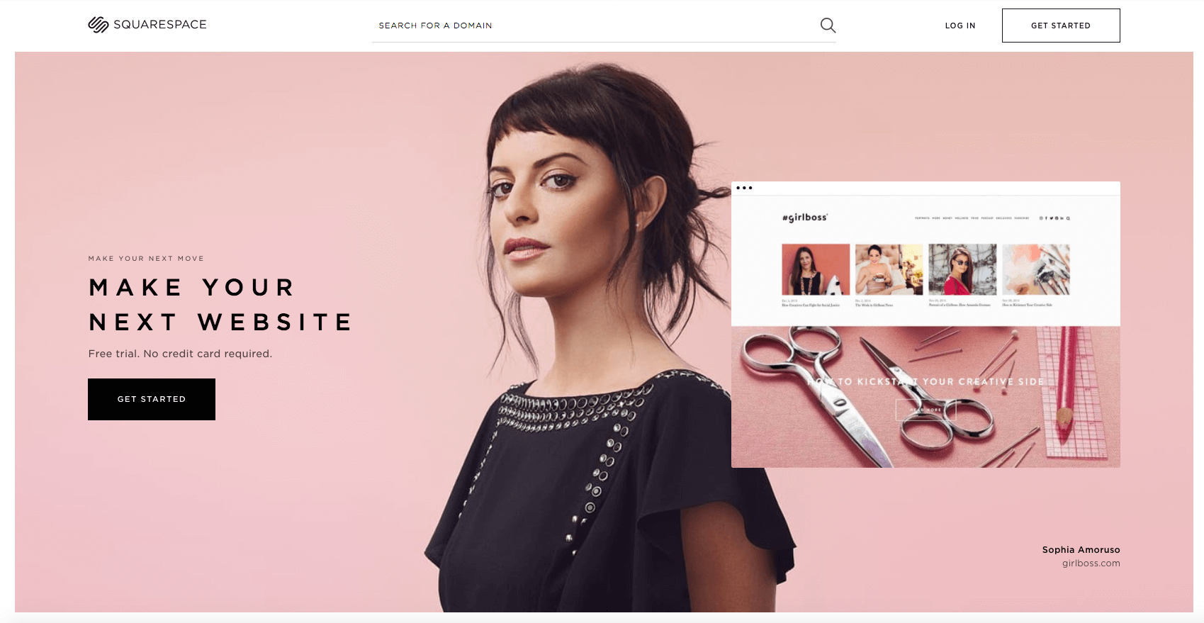 Squarespace screenshot pink background