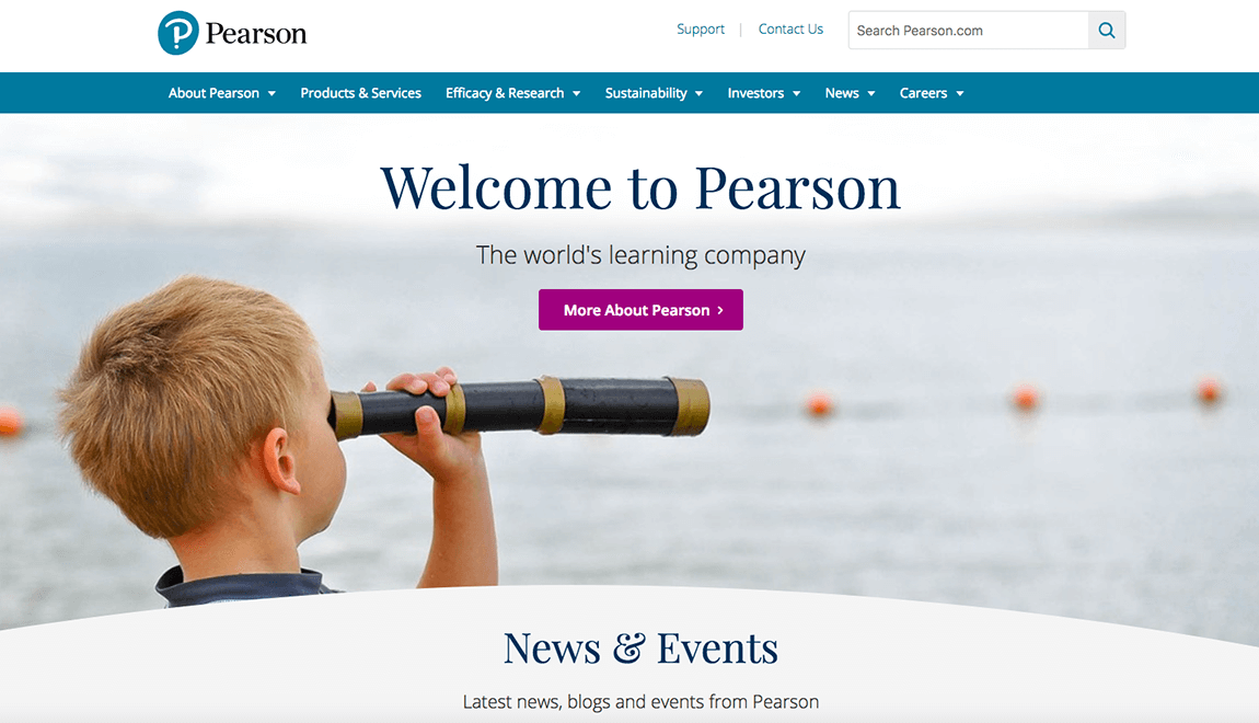 Pearsons website color example