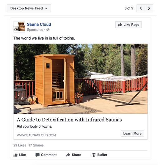 Sauna Cloud Detoxification with Infrared Saunas Facebook post
