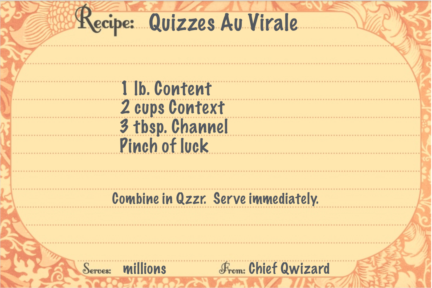 Recipe for Quizzes Au Virale