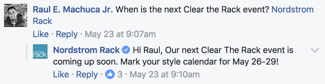 Nordstrom rack responds on social media