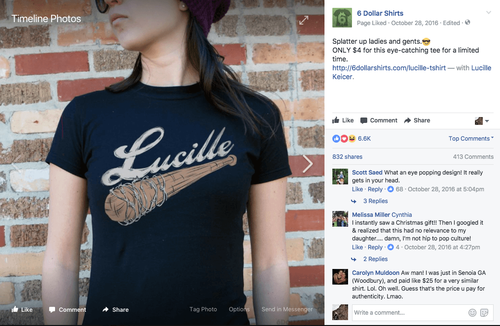 6 dollar shirts facebook ad