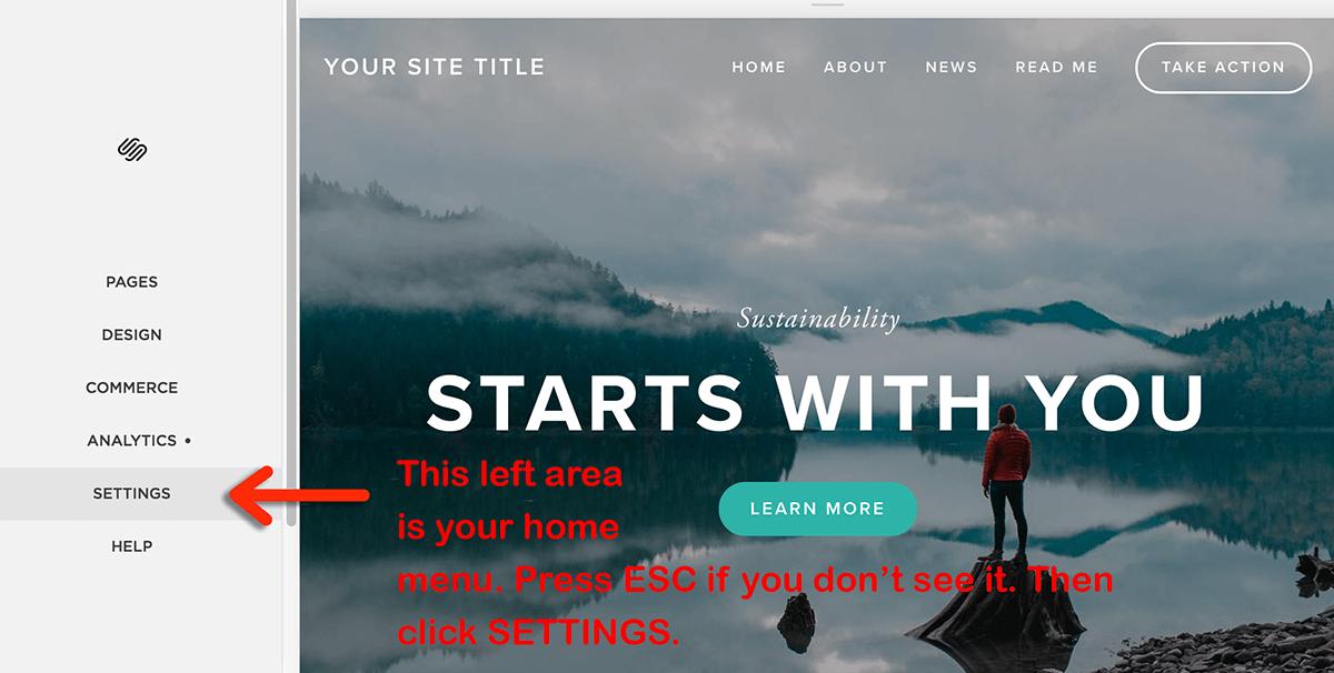 squarespace home menu