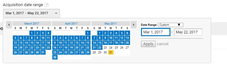 acquisition date range