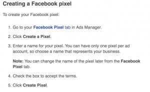 Creating a Facebook Pixel