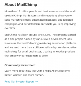 About Mailchimp text