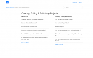 Behance FAQs categories