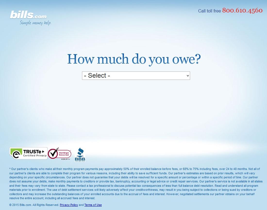 bills.com landing page