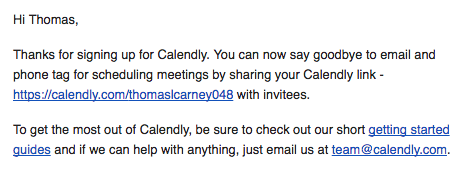 calendly welcome email
