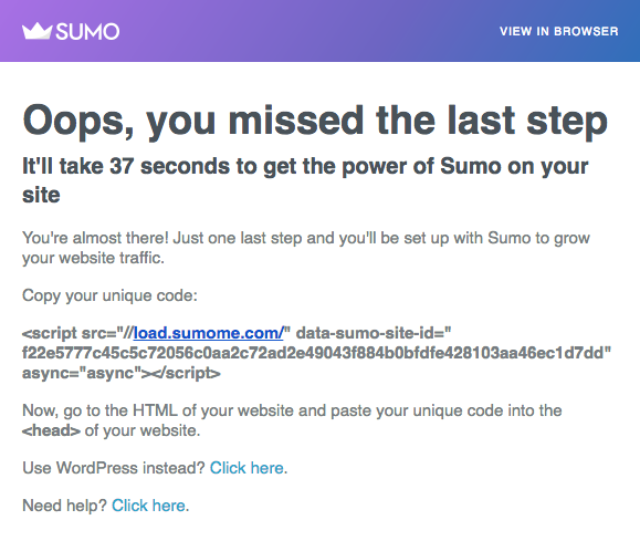 SUMO welcome email