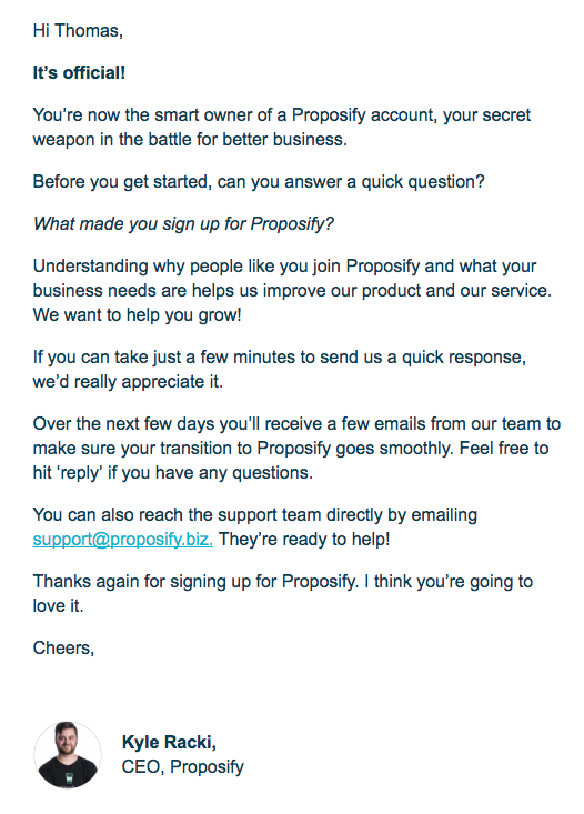 proposify welcome email