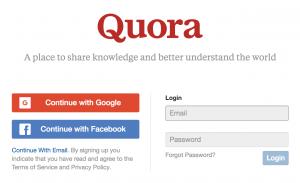 Quora social login