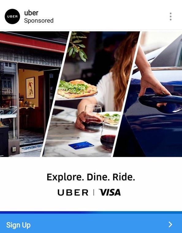 Uber sponsored ad