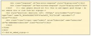 Mailchimp embedded code 2