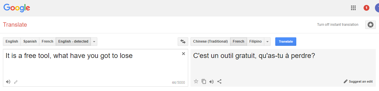 google translate from English to French