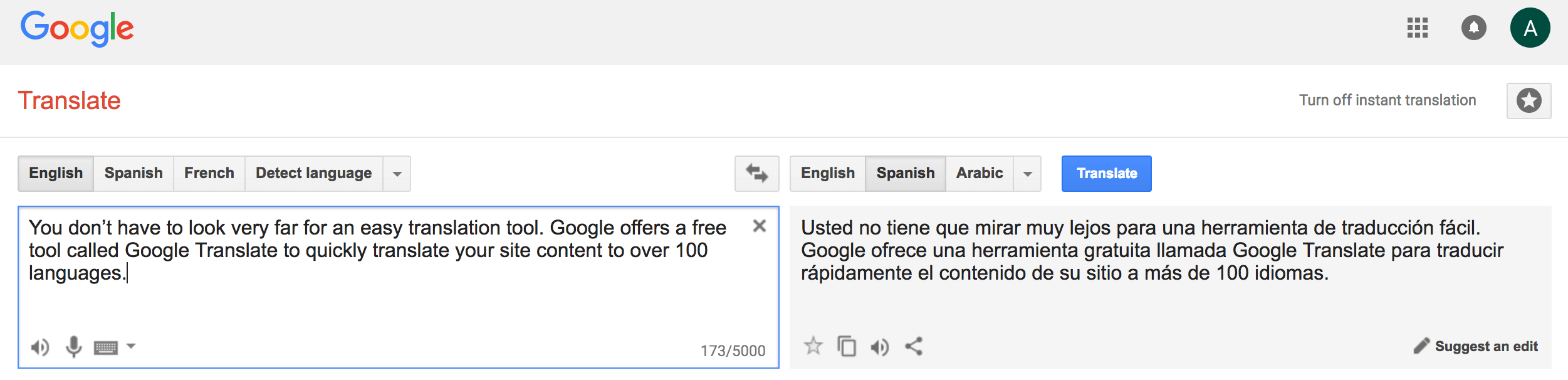translate spanish to english for free google