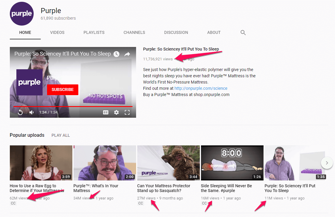 Purple Youtube page