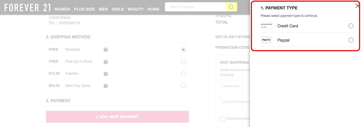 Forever21 payment method