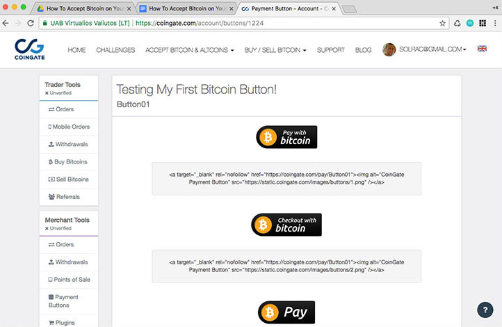 Test bitcoin button