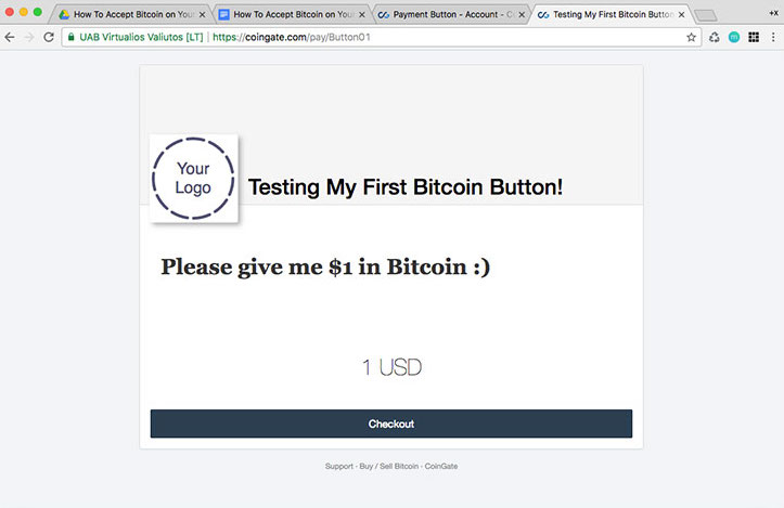 Testing bitcoin button