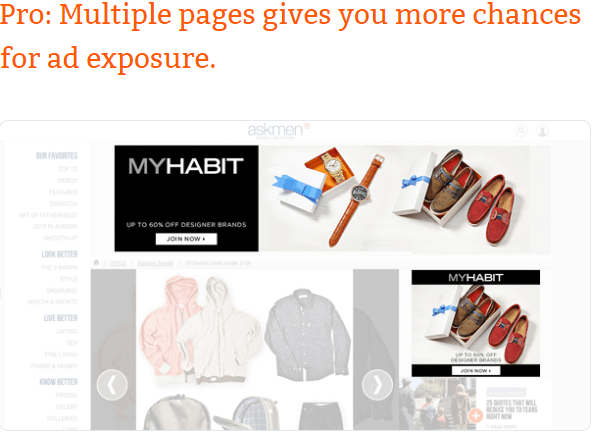 MyHabit multiple pages gives you more chances for ad exposure