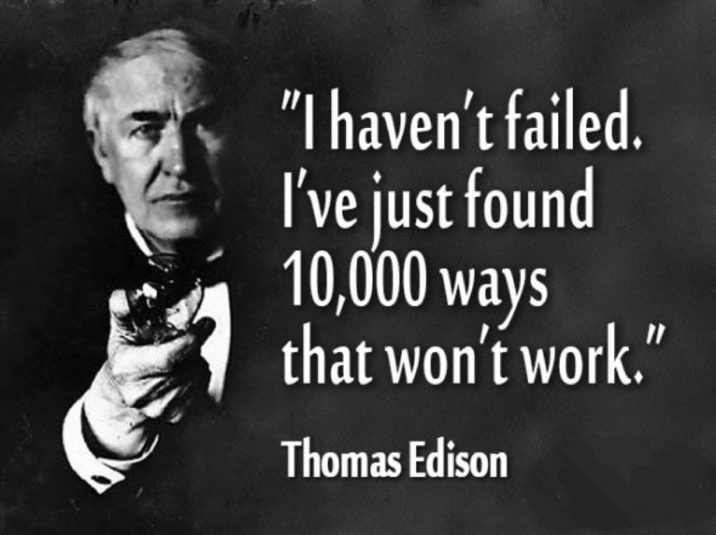 Edison on failure, experimentation