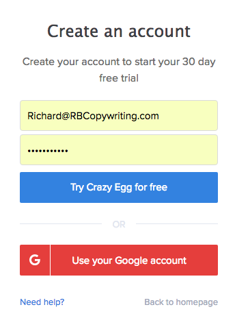 Create a CrazyEgg account