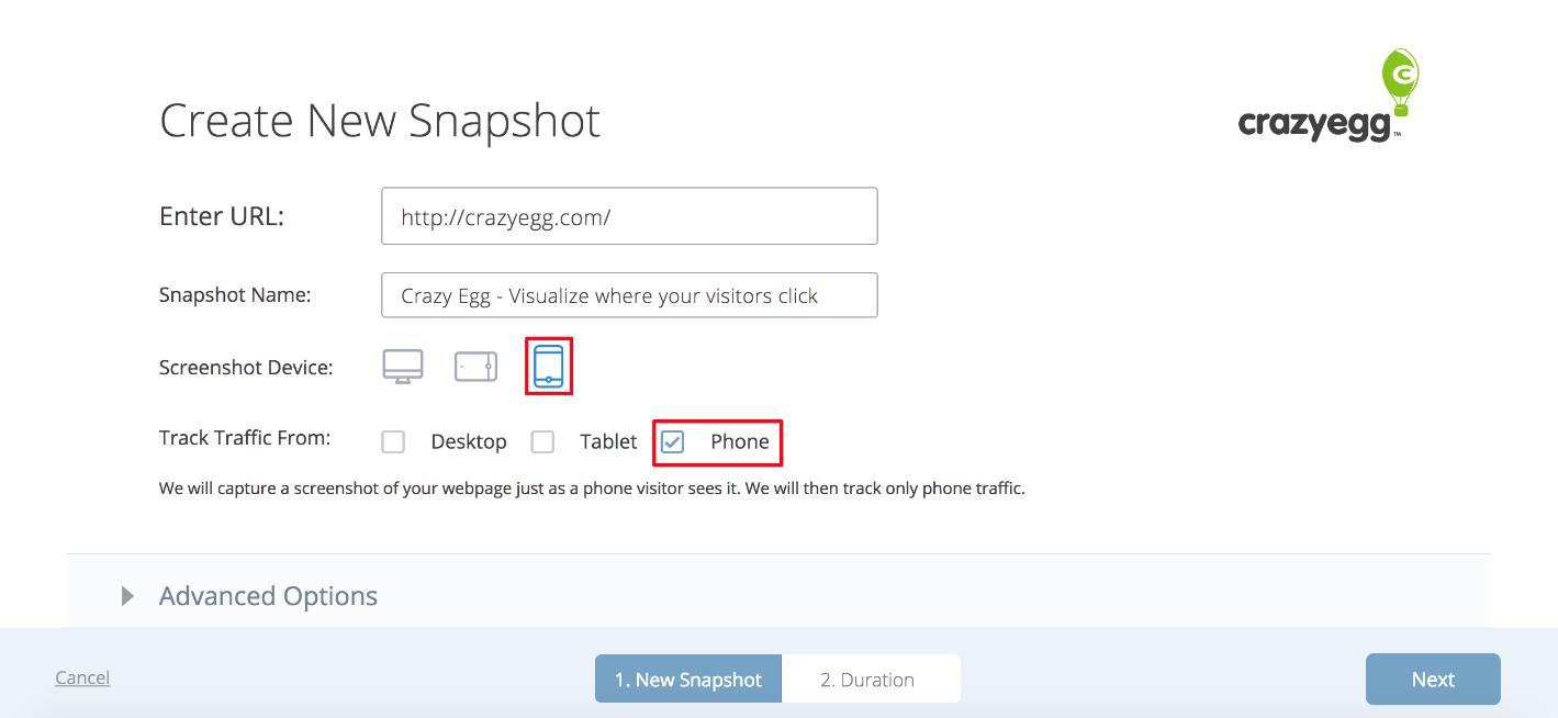 create new snapshot