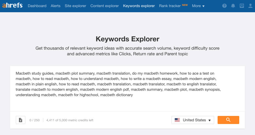 ahrefs keyword explorer search