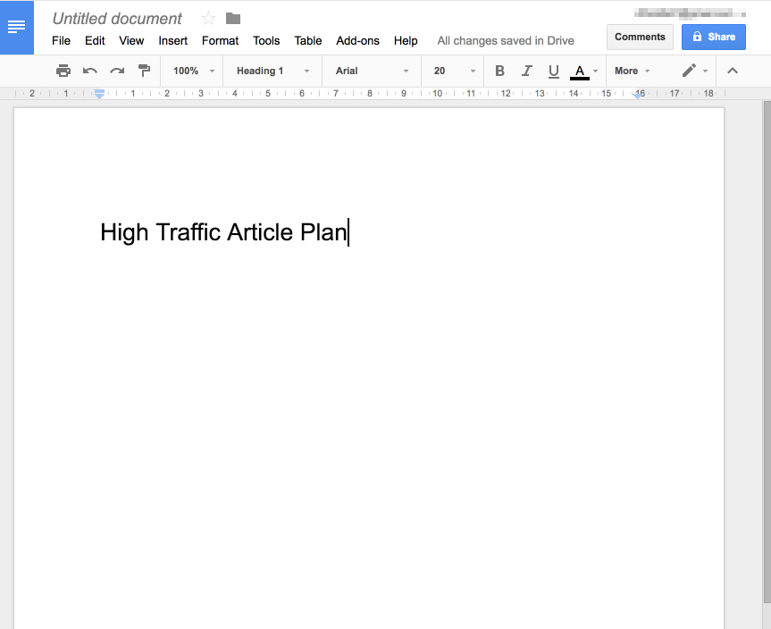 high traffic article plan