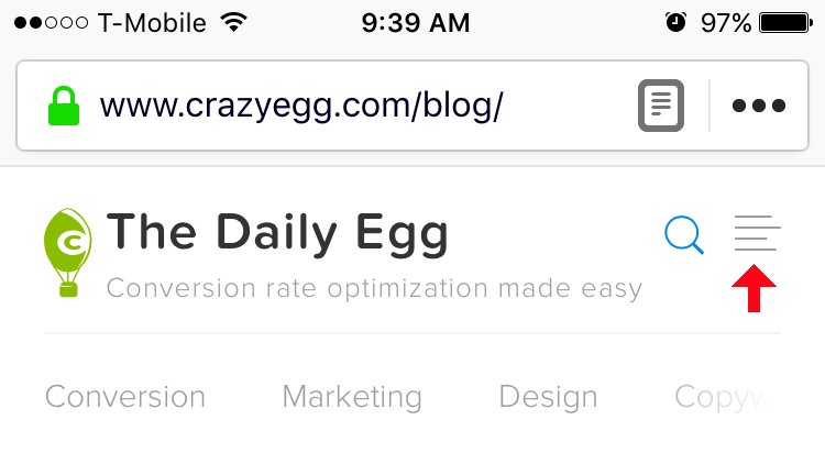location of Daily Egg Glossary on Mobile
