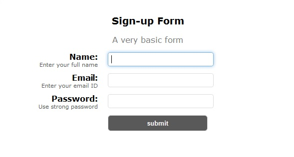 sign up form basic