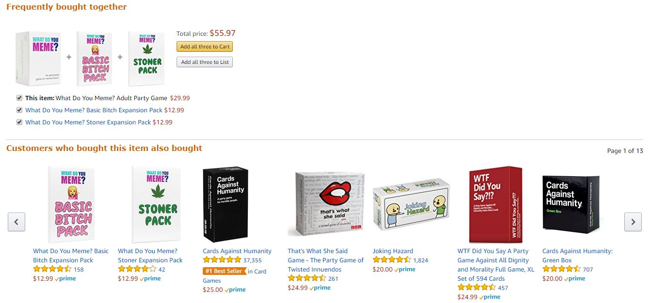 Screenshot of Amazon recommended products for What do you meme 5 ways to find the best products to sell on amazon