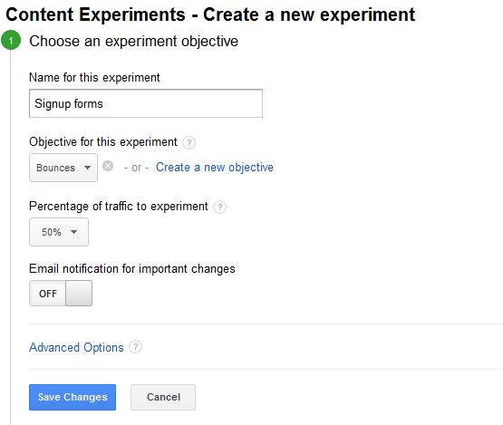 maak een nieuw experiment