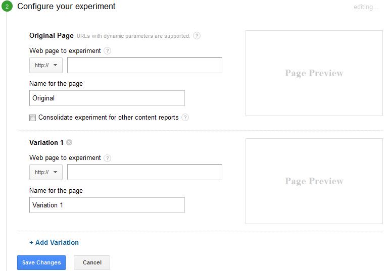 configureer uw experiment