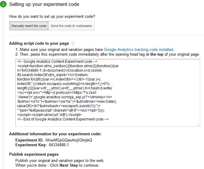 uw experimentcode instellen