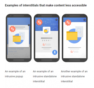 Examples of Interstitials that make content less accessible
