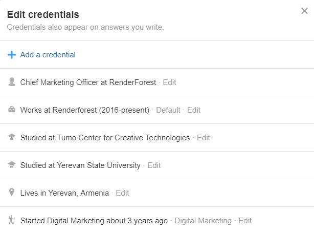 Edit credentials
