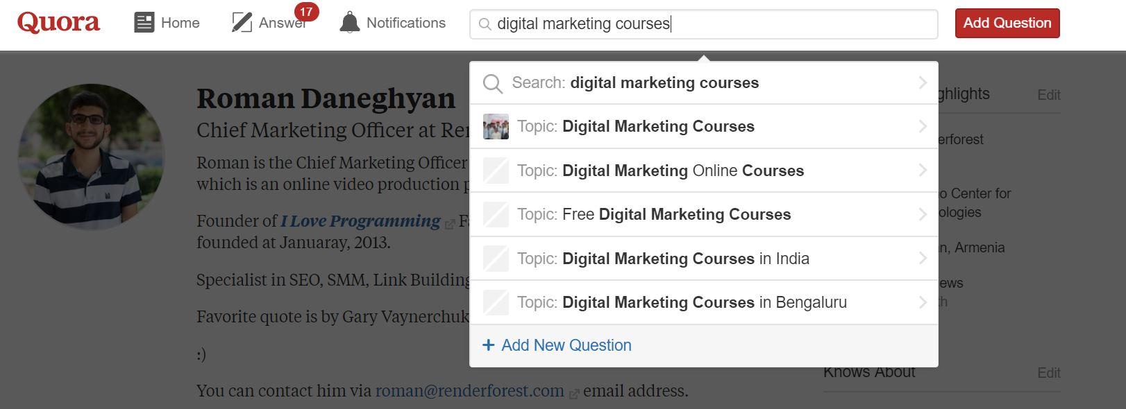 Quora Digital Marketing Courses