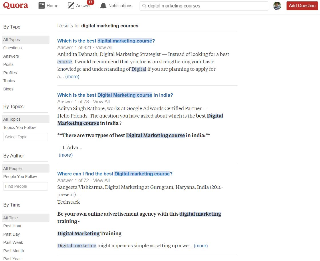 Quora Digital Marketing courses results