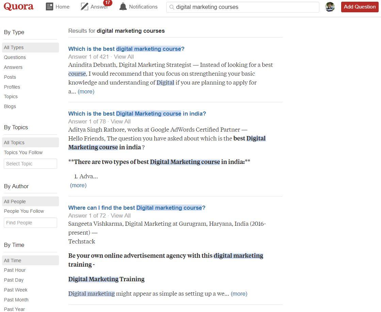 Quora Digital Marketing courses results
