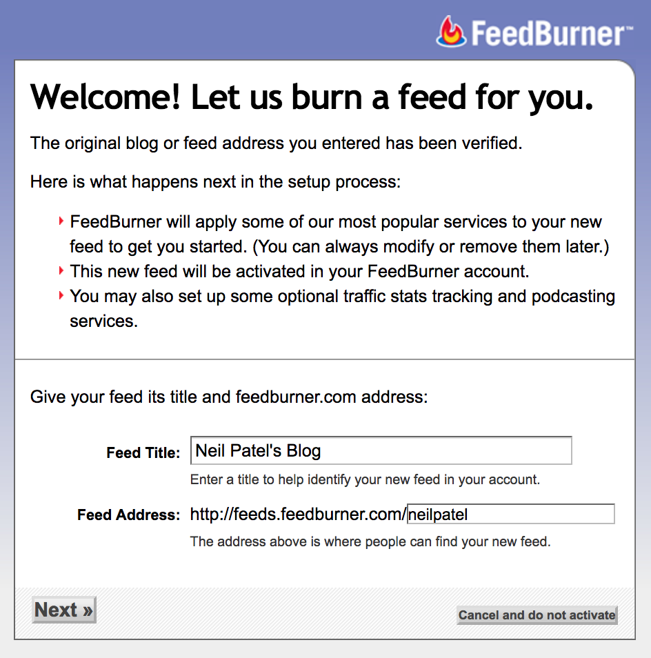google index feedburner neil