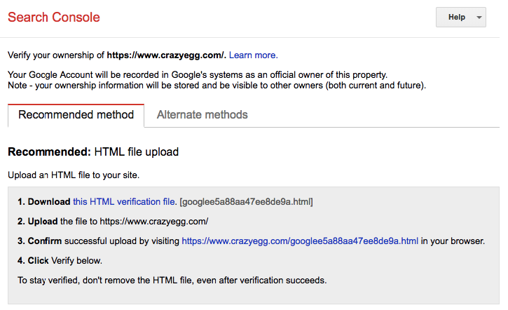 google index tools search console html file