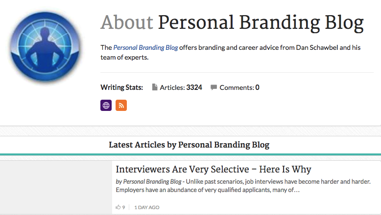 google index personal branding blog