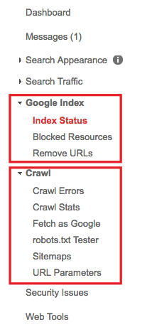google index search console menu
