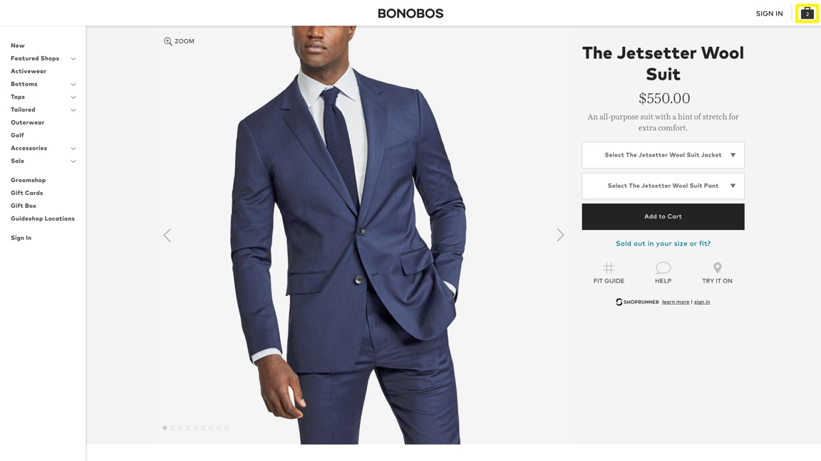 bonobos wool suit product page