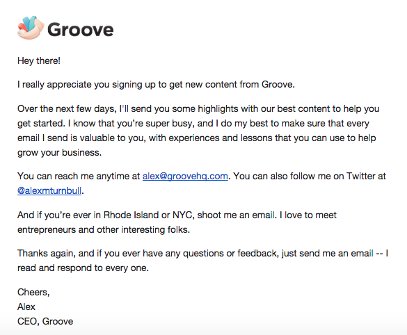 groove signup email
